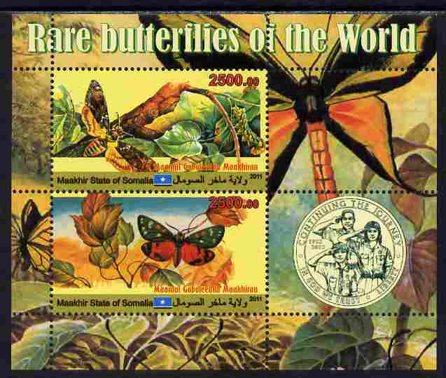 Maakhir State of Somalia 2011 Rare Butterflies #2 (with Scout Badge) perf sheetlet containing 2 values unmounted mint