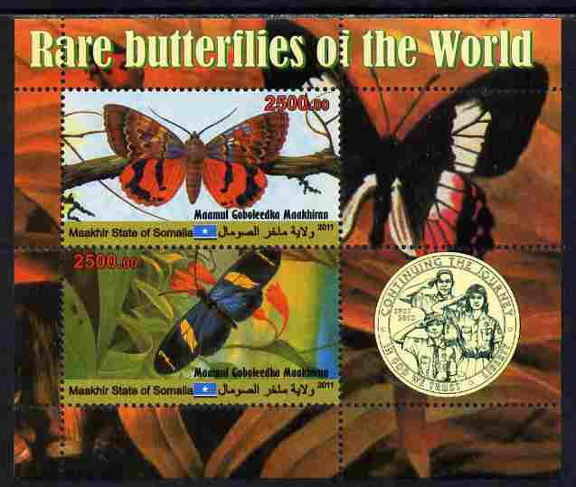 Maakhir State of Somalia 2011 Rare Butterflies #3 (with Scout Badge) perf sheetlet containing 2 values unmounted mint