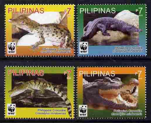 Philippines 2011 WWF - Philippine Crocodile perf set of 4 unmounted mint