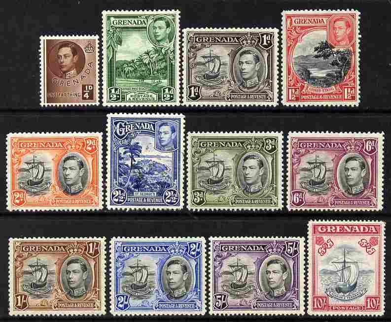 Grenada 1938-50 KG6 definitive set of 12 complete mounted mint SG 152-63e