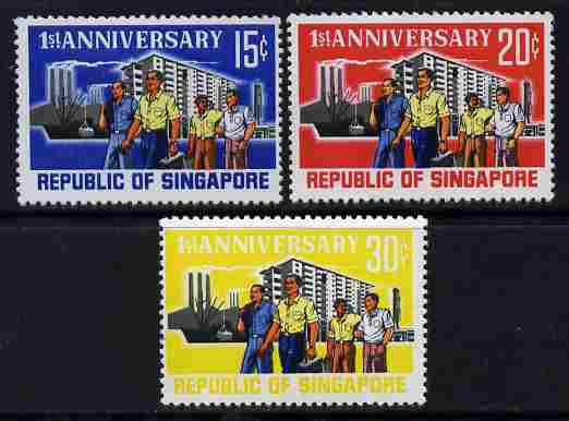 Singapore 1966 First Anniversary of Independence perf set of 3 unmounted mint SG 89-91