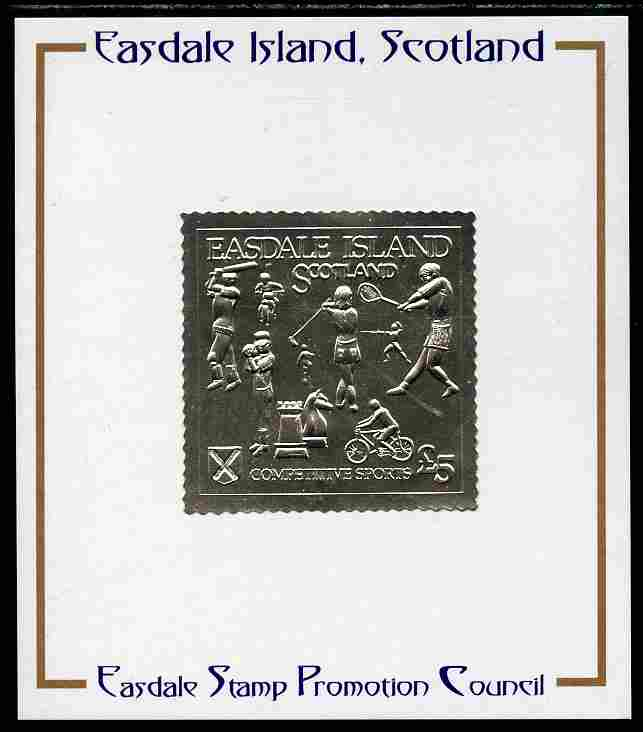 Easdale 1991 Competitive Sport #1 \A35 embossed in silver foil (with border showing Golf, Cricket, Tennis, Scrambling, Bowls, Fencing, Cycling & Chess) mounted on Publicity proof card issued by the Easdale Stamp Promotion Council