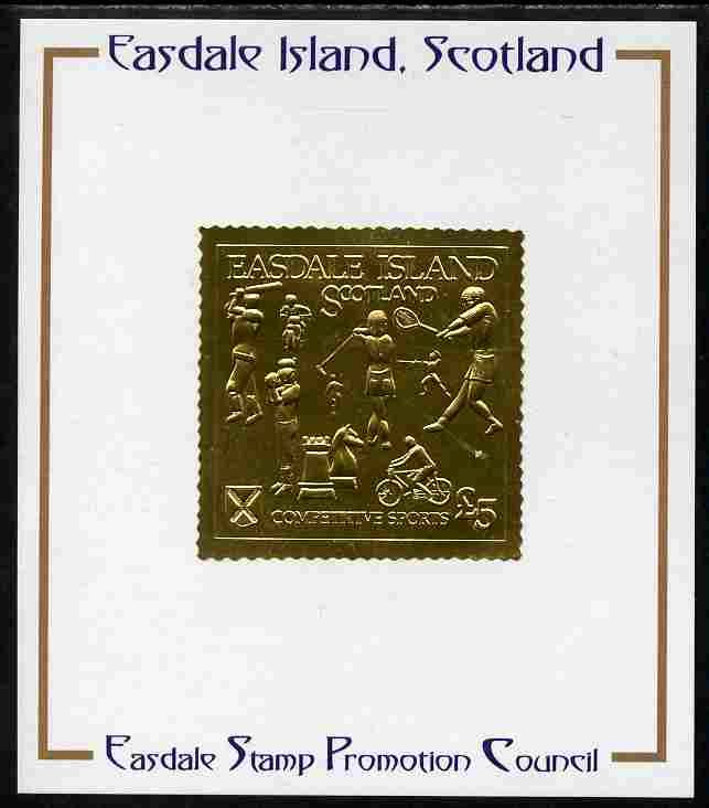 Easdale 1991 Competitive Sport #1 \A35 embossed in gold foil (with border showing Golf, Cricket, Tennis, Scrambling, Bowls, Fencing, Cycling & Chess) mounted on Publicity proof card issued by the Easdale Stamp Promotion Council