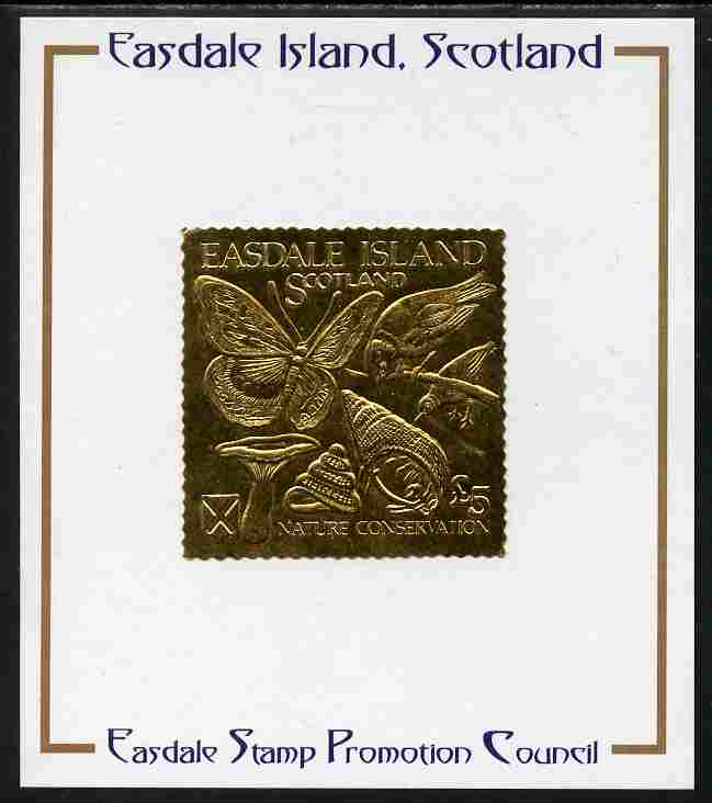 Easdale 1991 Nature Conservation \A35 embossed in gold foil (Butterfly, Birds, Mushroom & Shells) mounted on Publicity proof card issued by the Easdale Stamp Promotion Council