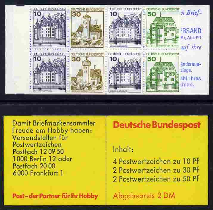 Booklet - Germany - West 1980-81 German Castles 2m booklet  (without posthorn) complete and fine, SG SB71a
