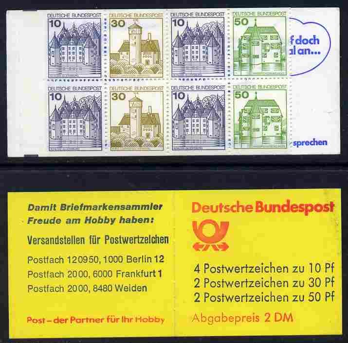 Booklet - Germany - West 1980-81 German Castles 2m booklet  (with posthorn) complete and fine, SG SB71b