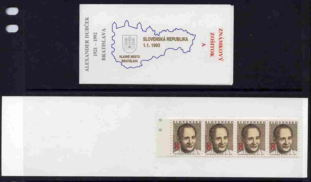 Booklet - Slovakia 1993 Alexander Dubcek 32k booklet (A) complete and fine SG SB2