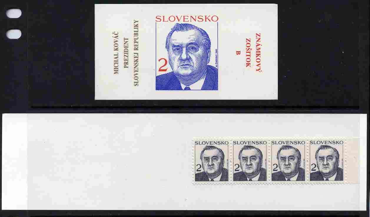 Booklet - Slovakia 1993 President Michal Kovac 80k booklet (B) complete and fine SG SB1
