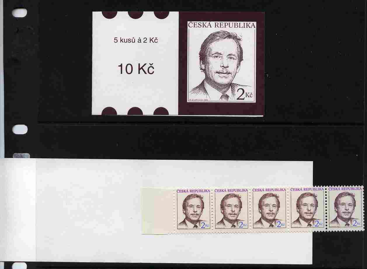 Booklet - Czech Republic 1993 President Havel 10kc booklet complete and fine SG SB3