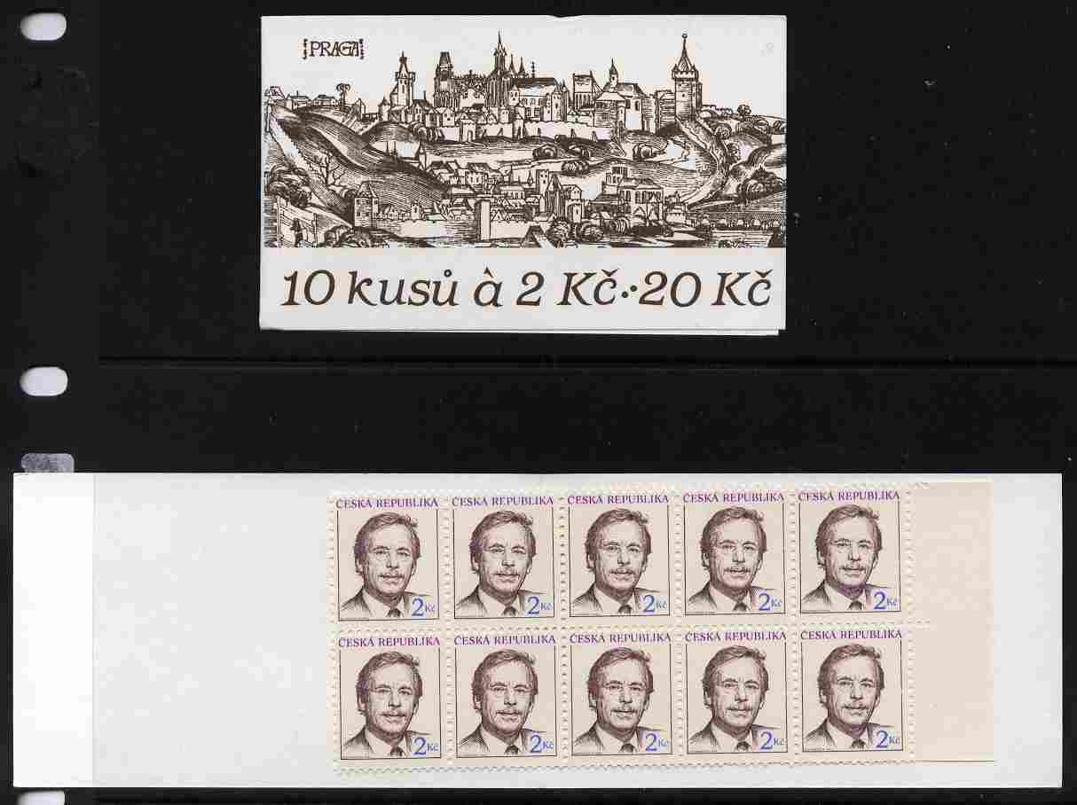 Booklet - Czech Republic 1993 President Havel 20kc booklet complete and fine SG SB12