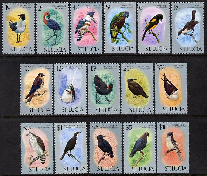 St Lucia 1976 Birds definitive set of 16 values complete unmounted mint SG 415-30a