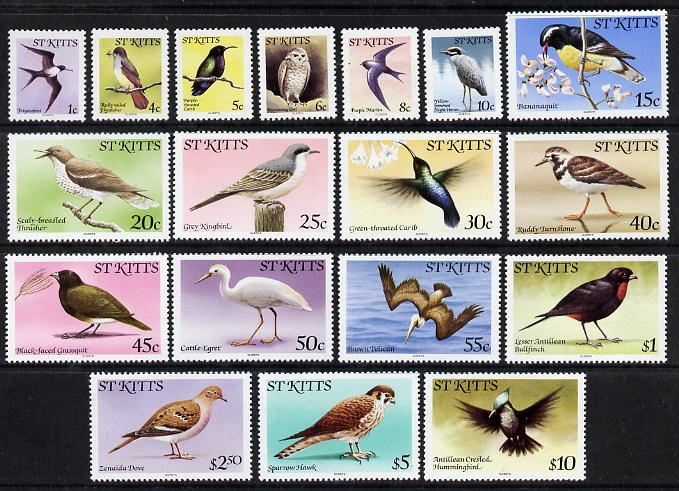 St Kitts 1981-82 Birds definitive set of 18 values complete without imprint date unmounted mint, SG 53A-70A