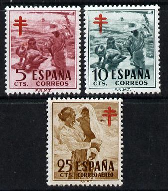 Spain 1951 Anti-Tuberculosis Fund perf set of 3 unmounted mint, SG 1163-5