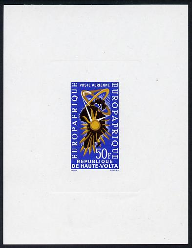 Upper Volta 1964 Europafrique 50f imperf deluxe proof sheet in issued colours on thin sunken card as SG 138