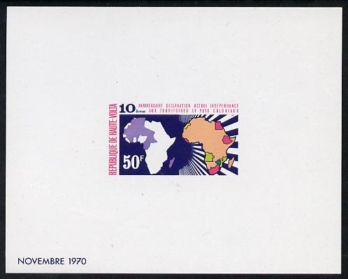 Upper Volta 1970 Tenth Anniversary of United Nations Declaration 50f imperf deluxe proof sheet in issued colours on glossy paper as SG 320