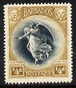 Barbados 1920-21 Victory MCA 1/4d black & bistre-brown unmounted mint SG 201