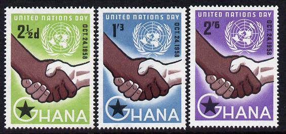 Ghana 1958 United Nations Day perf set of 3 unmounted mint SG 201-3