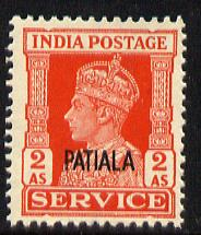 Indian States - Patiala 1939-44 KG6 Official 2a vermilion unmounted mint SG O78