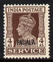 Indian States - Patiala 1939-44 KG6 Official 4a brown unmounted mint SG O80