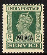 Indian States - Patiala 1939-44 KG6 Official 9p green unmounted mint SG O74
