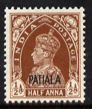 Indian States - Patiala 1941-46 KG6 1/2a red-brown unmounted mint SG 99
