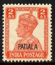 Indian States - Patiala 1941-46 KG6 2a vermilion unmounted mint SG 109