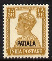 Indian States - Patiala 1941-46 KG6 1a3p yellow-brown unmounted mint SG 107