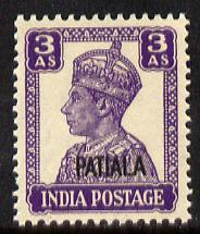 Indian States - Patiala 1941-46 KG6 3a bright violet unmounted mint SG 110