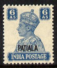 Indian States - Patiala 1941-46 KG6 6a turquoise-green unmounted mint SG 113