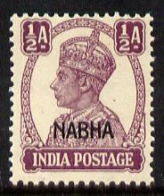 Indian States - Nabha 1941-45 KG6 1/2a purple unmounted mint SG 106