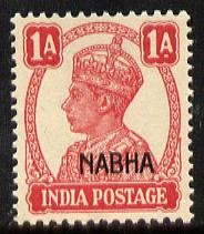 Indian States - Nabha 1941-45 KG6 1a carmine unmounted mint SG 108