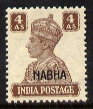 Indian States - Nabha 1941-45 KG6 4a brown unmounted mint SG 114