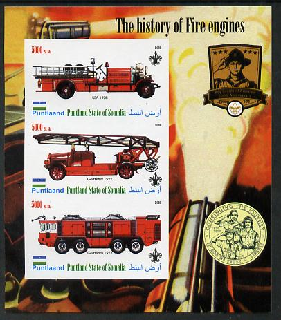 Puntland State of Somalia 2010 History of Fire Engines #2 (with Scout Logo) imperf sheetlet containing 3 values unmounted mint