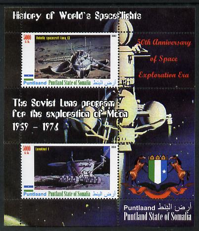 Puntland State of Somalia 2010 History of Space Flight - Soviet Moon Programme #1 perf sheetlet containing 2 values unmounted mint