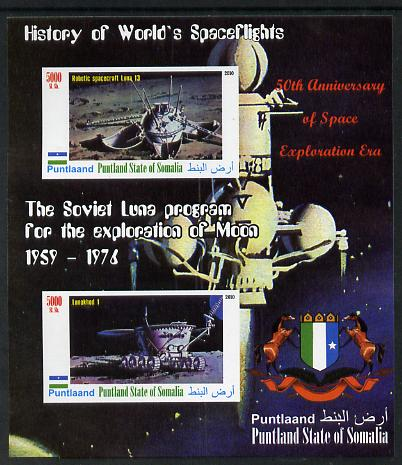 Puntland State of Somalia 2010 History of Space Flight - Soviet Moon Programme #1 imperf sheetlet containing 2 values unmounted mint