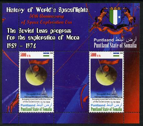 Puntland State of Somalia 2010 History of Space Flight - Soviet Moon Programme #2 perf sheetlet containing 2 values unmounted mint