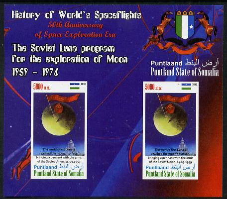 Puntland State of Somalia 2010 History of Space Flight - Soviet Moon Programme #2 imperf sheetlet containing 2 values unmounted mint