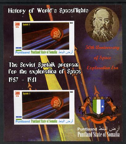 Puntland State of Somalia 2010 History of Space Flight - Soviet Sputnik Programme #2 imperf sheetlet containing 2 values unmounted mint
