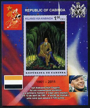 Cabinda Province 2011 Tribute to Yuri Gagarin - Paintings #01 perf souvenir sheet  unmounted mint