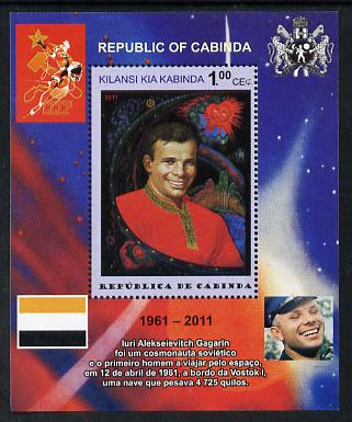 Cabinda Province 2011 Tribute to Yuri Gagarin - Paintings #03 perf souvenir sheet  unmounted mint