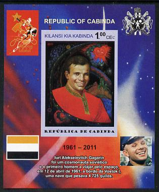 Cabinda Province 2011 Tribute to Yuri Gagarin - Paintings #03 imperf souvenir sheet  unmounted mint