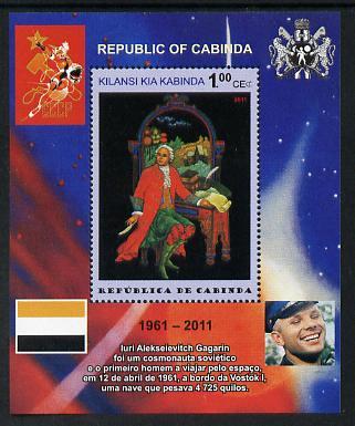 Cabinda Province 2011 Tribute to Yuri Gagarin - Paintings #04 perf souvenir sheet  unmounted mint
