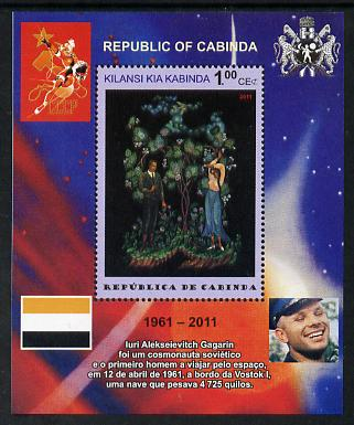 Cabinda Province 2011 Tribute to Yuri Gagarin - Paintings #05 perf souvenir sheet  unmounted mint, stamps on space, stamps on heraldry, stamps on arts, stamps on flags