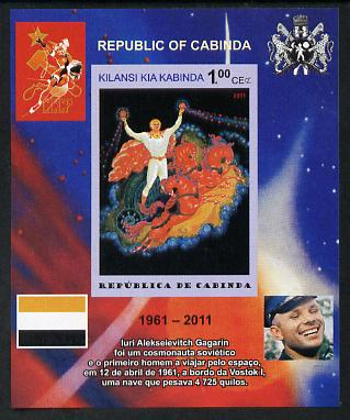 Cabinda Province 2011 Tribute to Yuri Gagarin - Paintings #06 imperf souvenir sheet  unmounted mint