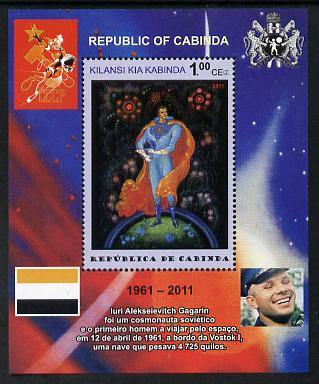 Cabinda Province 2011 Tribute to Yuri Gagarin - Paintings #07 perf souvenir sheet  unmounted mint