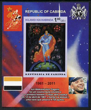 Cabinda Province 2011 Tribute to Yuri Gagarin - Paintings #07 imperf souvenir sheet  unmounted mint