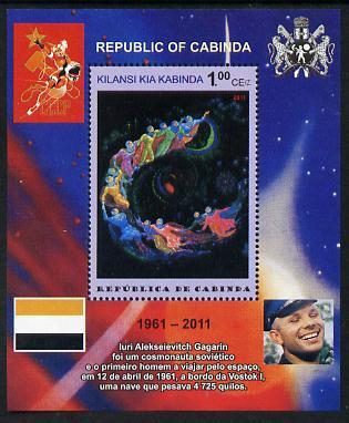 Cabinda Province 2011 Tribute to Yuri Gagarin - Paintings #09 perf souvenir sheet  unmounted mint