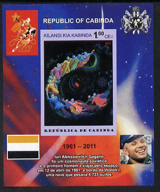 Cabinda Province 2011 Tribute to Yuri Gagarin - Paintings #09 imperf souvenir sheet  unmounted mint