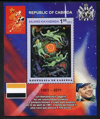 Cabinda Province 2011 Tribute to Yuri Gagarin - Paintings #10 perf souvenir sheet  unmounted mint