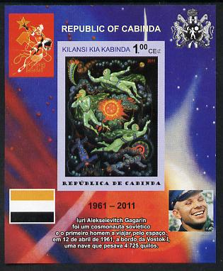 Cabinda Province 2011 Tribute to Yuri Gagarin - Paintings #10 imperf souvenir sheet  unmounted mint